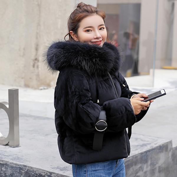 SIJIMZ 2018 Moda kış ceketler kadın kısa ceketler kadın kış ceket kadın giyim Kapşonlu kadın coat Kürk yaka siyah S18101505