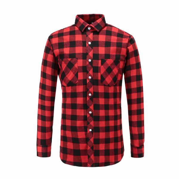 JeeToo Plaid À Manches Longues Mens Shirt Automne Vérifié Rouge Et Noir Marque Casual Vêtements Outwear Chemises De Mode Homme Blouse 2018
