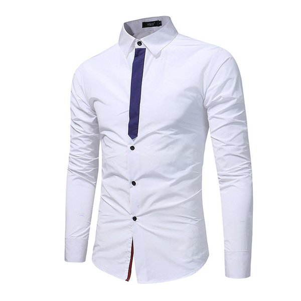 Smart Casual Men Shirt Patchwork Dress Shirt Turn-down Collar Camisa Masculina
