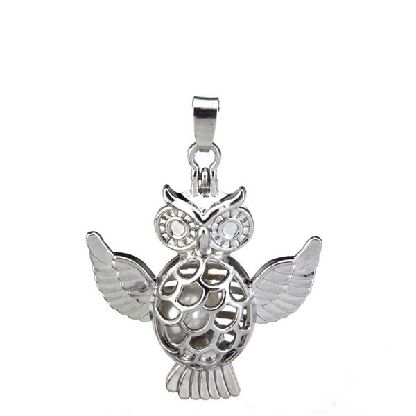 10pcs/lot Silver Alloy Cute Flying Owl Wing Magnetic Oysters Beads Cage Locket Pendant Aromatherapy Perfume Essential Oils Diffuser