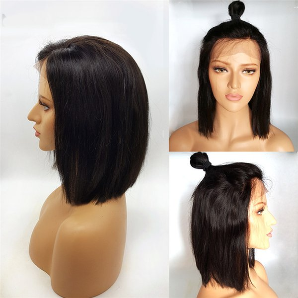 Hot Selling Free Shipping Peruvian StraightHair Swiss Lace Front Bob Wigs AdjustablePure HandmadeLace Frontal Human Hair Average Size Wig