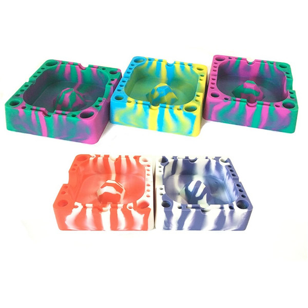 New Arrival Smokeless Ash Tray Unique Heat Resistant Colorful Square Eco-Friendly Silicone Ashtray Easy Cleaning 5PCS/LOT