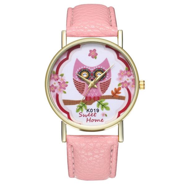 GENBOLI Women's Watch Quartz Watch Sakura Owl Litchi Pattern Leather Strap Round Dial Children Watches Exquisite Workmanship