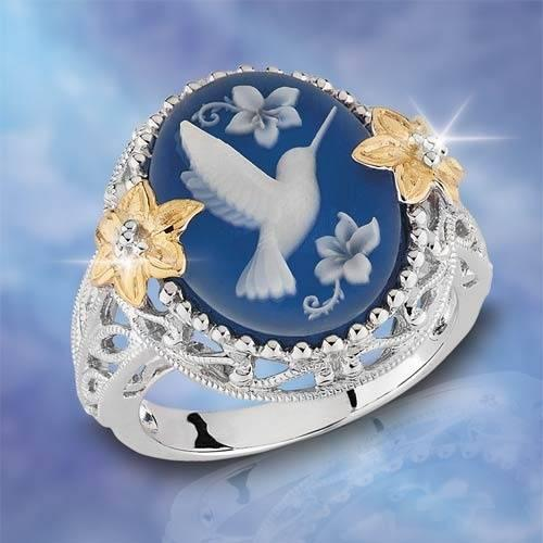 The latest hot trend in 2018 Exquisite Bridal 925 Sterling Silver Ring White Bird Pigeon Dove Blue