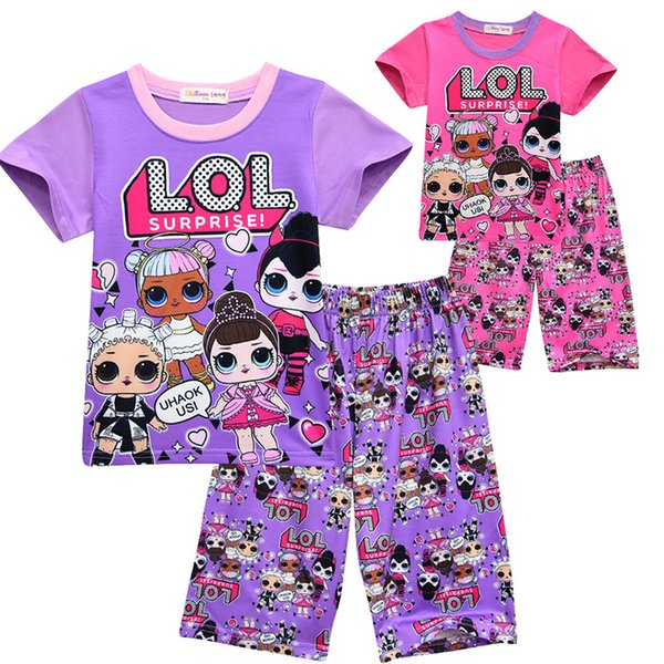 2 Colors Hot Sale Girls Clothing Children Summer Girls Clothes Cartoon Kids Clothing Tshirt+ Pants Cotton baby Clothing Sets For Girls
