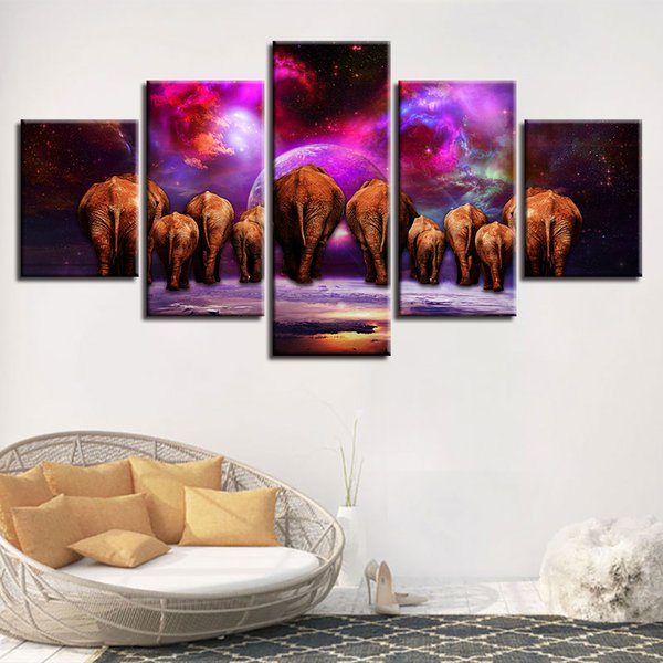 Prints Poster Modular Home Decor Framework Canvas HD 5 Pieces Elephant Group Pictures Abstract Nebula Scenery Paintings Wall Art
