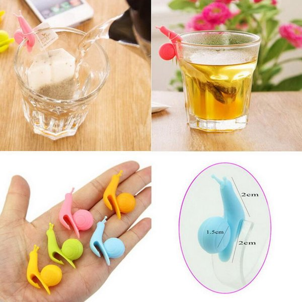 New Arrival Candy Colors Cute Snail Shape Silicone Tea Bag Holder Cup Mug Tea Bag Clip Gift Set LX3348