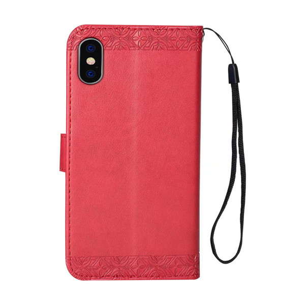 Exquisite for iphone 6s plus case Embossed sunflower PU kickstand case for Goophone X wallet case with hanging strap