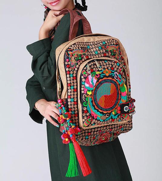 Großhandel Ethnische Rucksack Rucksack Rucksack Tasche Bestickt 100% Tribal Handmade # 133 Oriental Traditionellen Taschen Kostenloser Versand Von