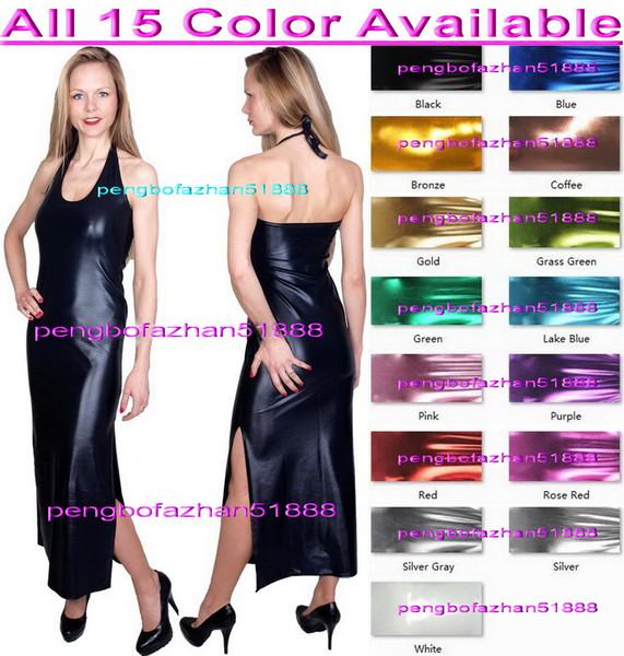 Nuove donne abiti lunghi sexy 15 colori brillanti abiti metallici donne sexy abiti discoteca gonna lunga vestito da festa di Halloween Suit P250