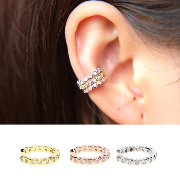 Sólido 925 Sterling Silver delicada clip Pendientes para Las Mujeres Joyería Fina lujo Ear Cuff Cubic Zircon fábrica oem star regalo de bodas