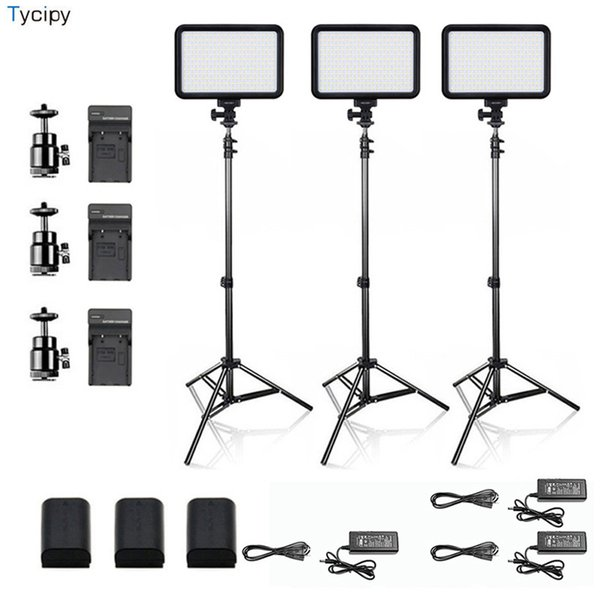 Оптовая LED Video Light Bi-color Photography Studio Photo Lighting Kit для DSLR Nikon Canon Make up YouTube видеосъемка