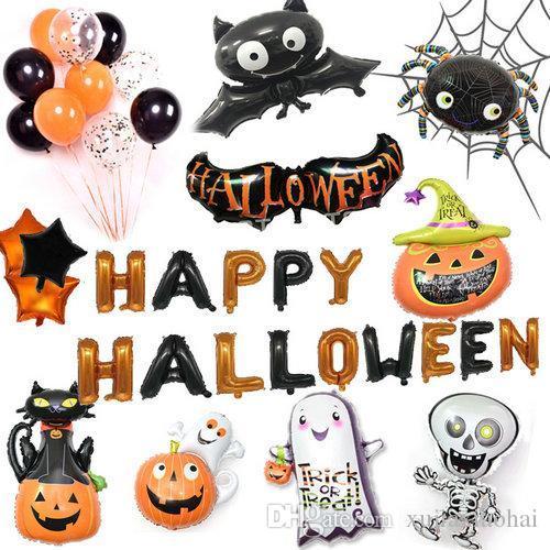 Acheter Différents Styles Feuille Balloon Squelette Spooky Fantôme Chauve Souris Citrouille Foil Helium 18 Pouce Halloween Party Décorations Ballons