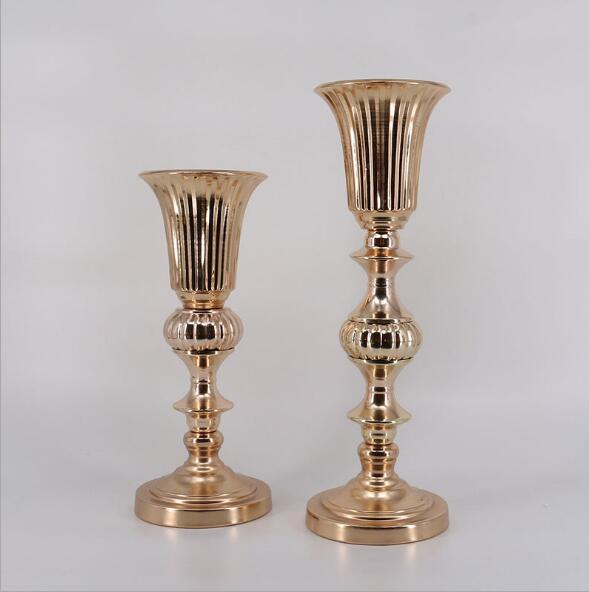 Classic silver and gold finish 50 cm table flower vase wedding event or party road lead home decor flower rack metal candlestick