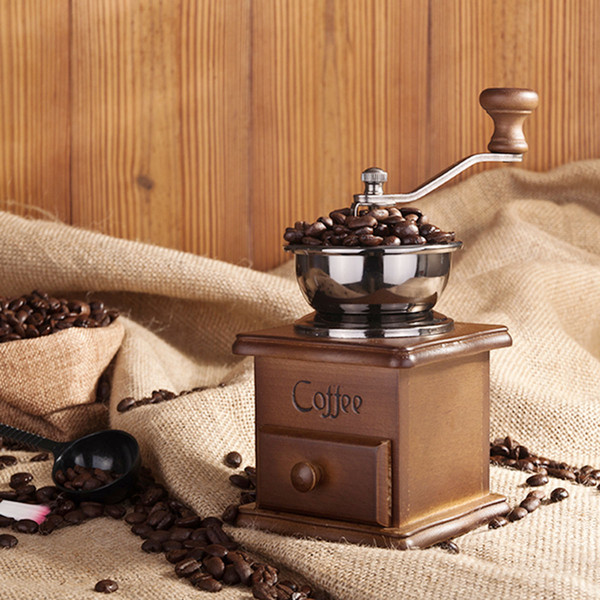 Classical Wooden Manual Coffee Grinder Stainless Steel Retro Coffee Spice Mini Burr Mill With High-quality Ceramic Millstone GGA655 10pcs