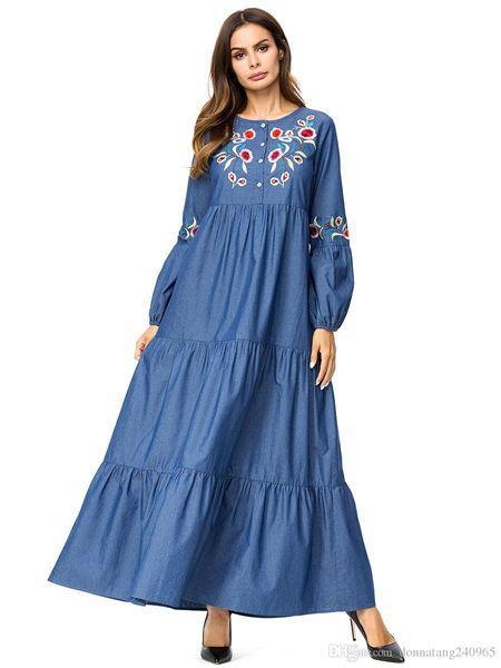 Islam casual abaya muslim girl fashion jeans dress Embroidery turkish women clothing burqa robe plus size dubai arab djellaba