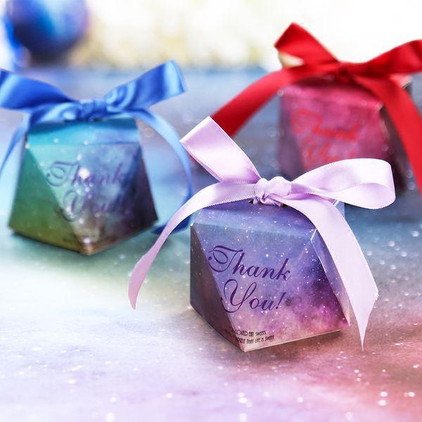 Purple Blue Candy Boxes Faveurs de mariage Boîte-cadeau Faveur de fête de mariage Décoration Casamento Chocolate Box 6 * 6 * 6 cm