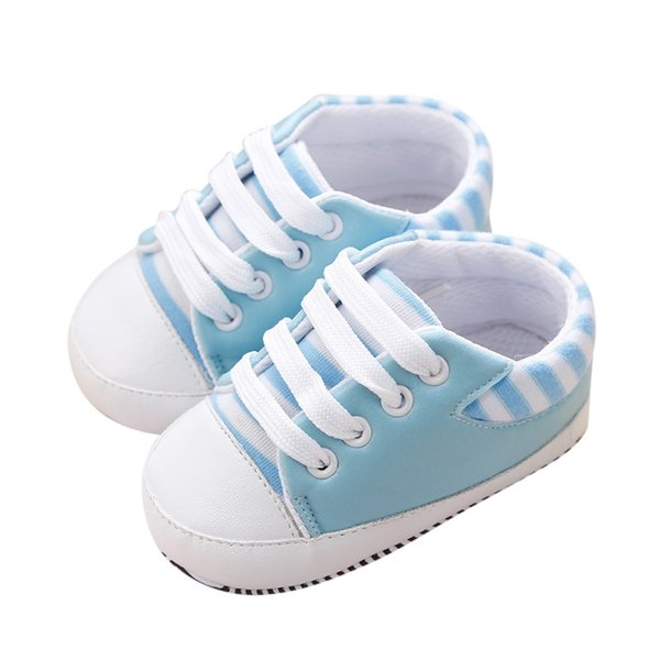 Spring New Infant Toddler Baby PU Striped Sneakers Boys Girls Soft Sole Crib Non-slip Shoes 0-18M Hot Sale