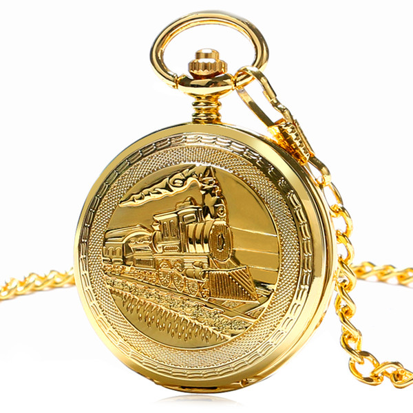 Steampunk 3D Steam Locomotive Carving Train Cover Fob Chain Mechanical Pocket Watch Men Delicate Pendant Clock Gifts Reloj Mujer