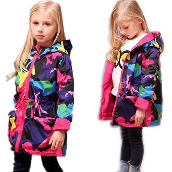 top popular 2018 Girls Clothes Girl Jackets Children Coat Kids Spring Outerwear teenager Camo Hooded Windbreaker Thin Waterproof Trench Coat Y1891309 2019