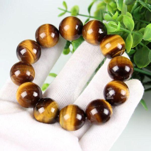 Naturale occhio di tigre giallo pietra grado un braccialetto 10 MM occhio di tigre pietra cerchio singolo mano stringa mare Salix cera d'api perline braccialetto braccialetto 18/20 m