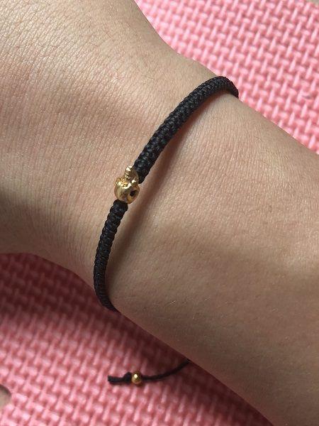 Hot! Simple bracelet design for men women handmade braided black rope chain little silver/gold skull charm bangle