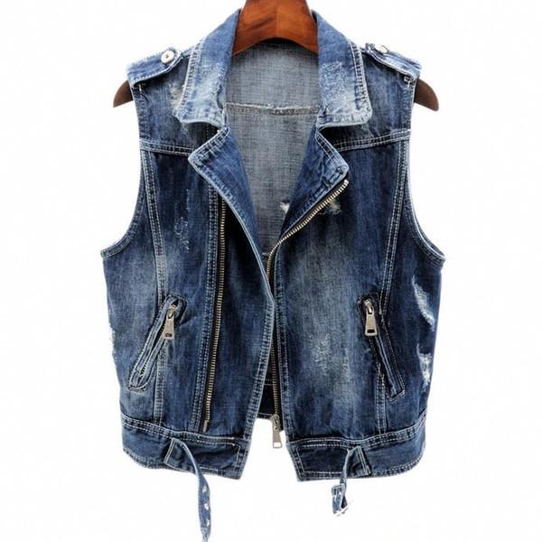 plus size 2XL loose Womens Denim Vests Sleeveless Turn-down Collar zipper jeans tank tops