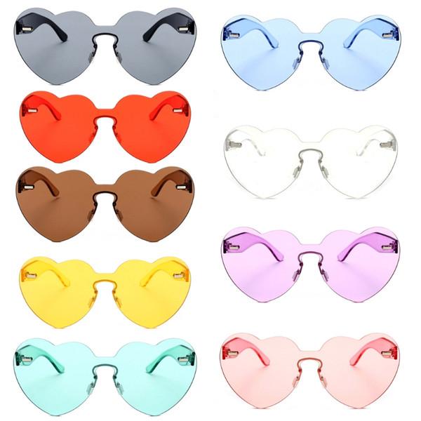 Heart Sunglasses Love Shape Sunglasses Rimless Women Love Colorful Tint Lens Shades Transparent