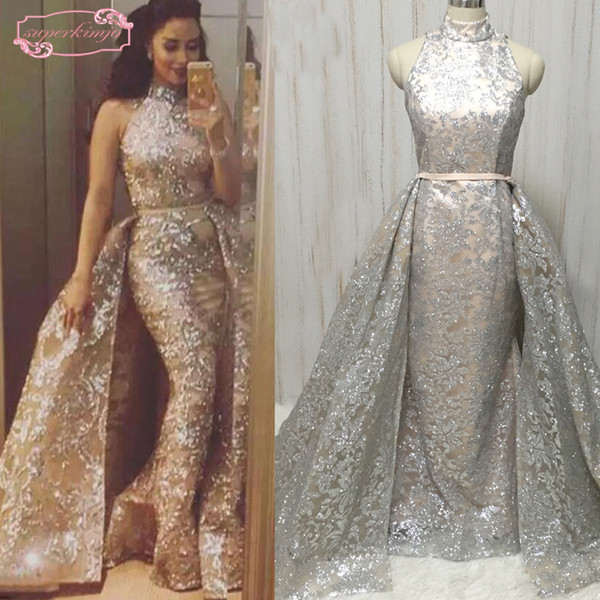 Real Picture Detachable Prom Dresses Bling Bling Shinning Halter High Neck Floor Length Long Evening Dresses Gowns
