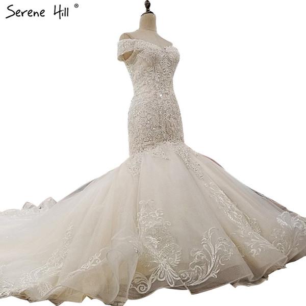 Off spalla Sexy High-end abiti da sposa personalizzati 2018 Mermaid Luxury Crystal Sequined Vintage Bride Gown Foto reale