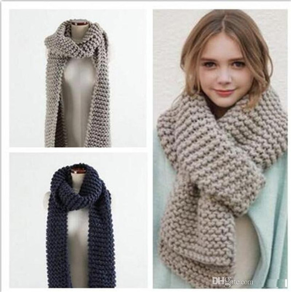 Brand New scarf winter knitted Candy colors scarves Soft Comfortable thick warm Handmade scarves TO352