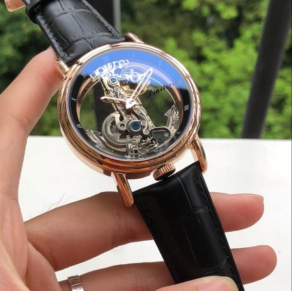 Geri cam Gül altın 42 MM CASE mekanik otomatik erkekler İzle toptan lüks moda kepek yeni Paslanmaz çelik erkek watche