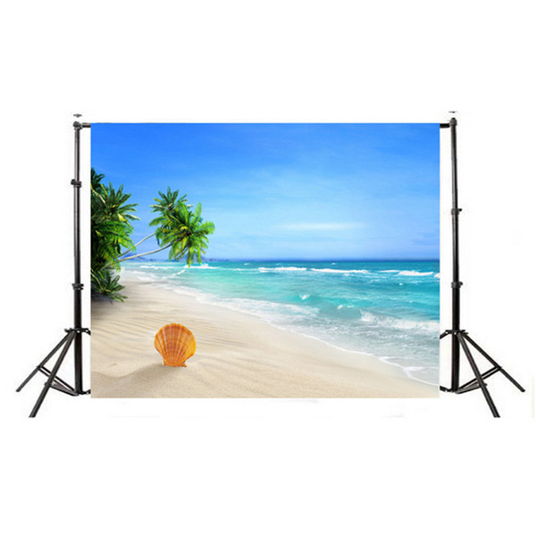 7x5ft Summer Seascape Blue Sky White Cloud Green Water Beach Ocean Sea Stone Mountain Holiday Party Backdrop Photography Background