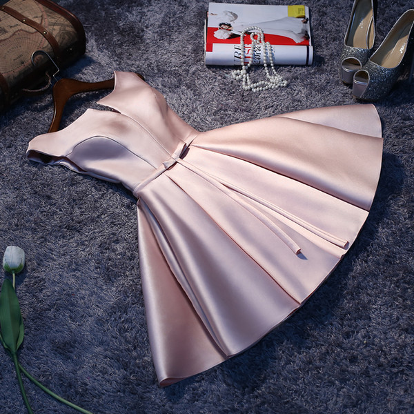 Real Photos Cheap 2017 A-Line Scoop Satin Sashes With Bow Simple Custom Made Bridesmaid Dress Knee Length Prom Dress vestido madrinha