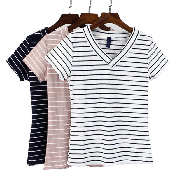 2018 GIGOGOU S-2XL T-shirt estiva taglie forti Donna T-shirt a maniche corte scollo a V TShirt Cotone casual donna T-shirt