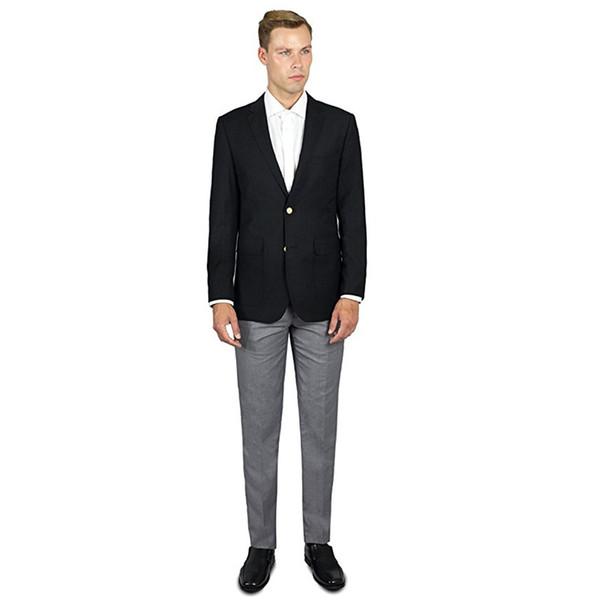 Custom Made Hot Vente Veste Noire + Pantalon Gris Clair 2 Pièce De Marié De Mariage Costumes Formels Hommes Costumes (Veste + Pantalon) L623