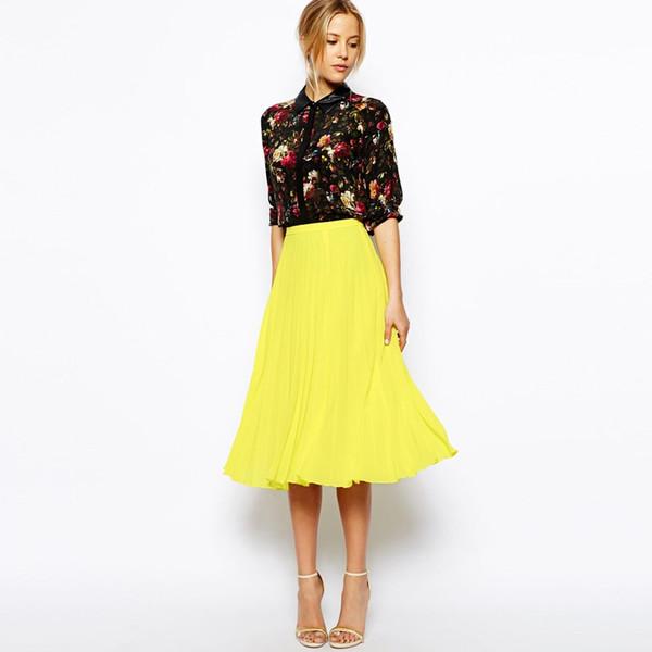 Elegant Lemon Yellow Length Chiffon Skirts 2018 Femme Saias Fashion Elegant Pleated Mid Calf Skirt Women Zipper Custom Made