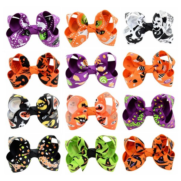 3 .15 Inch Halloween Grosgrain Ribbon Bows With Clip 24pcs Ghost Pumpkin Pinwheel Hair Clips Hair Pin Hairpins Accessories 751