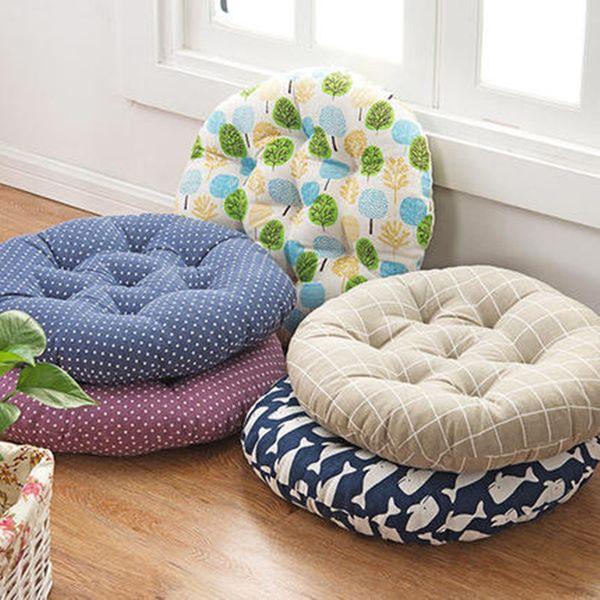 Coussin de siège rond de style Japon pour canapé chaise voiture décor à la maison, tapis de coussin de coton épais lin de tatami, fesses, Almofadas, 3 taille