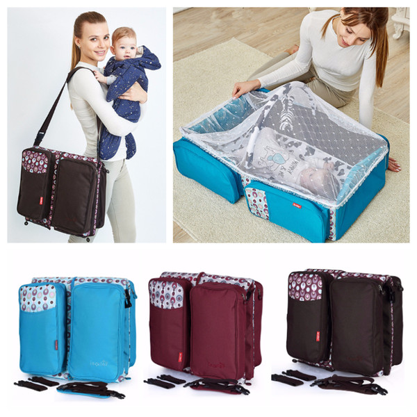 Portable Baby Bed Outdoor Travel Picnic Folding Baby Diaper Bag Infant Safety Bag Cradles Bed Baby Crib Safety Mommy Bag With Bed Net