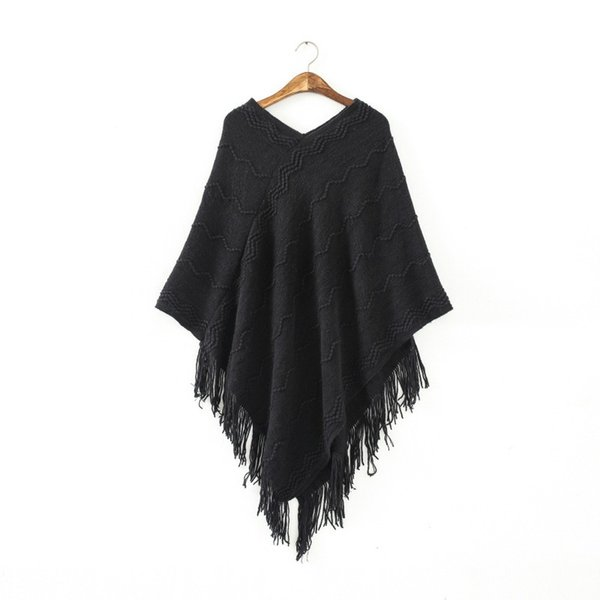 Womens Fringed Tassels Bat Sleeve Pullover Jumper Knit Sweaters Top Poncho Shawl PY5