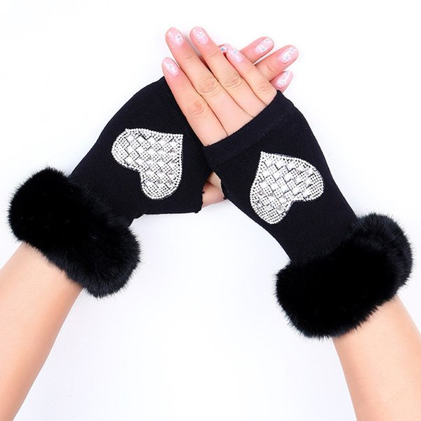 New Lady Rhinestone Fingerless Gloves Women Men Sparkling Knitted Girl Boy Black Wool Half Finger Computer Mitts Warm 7C2202