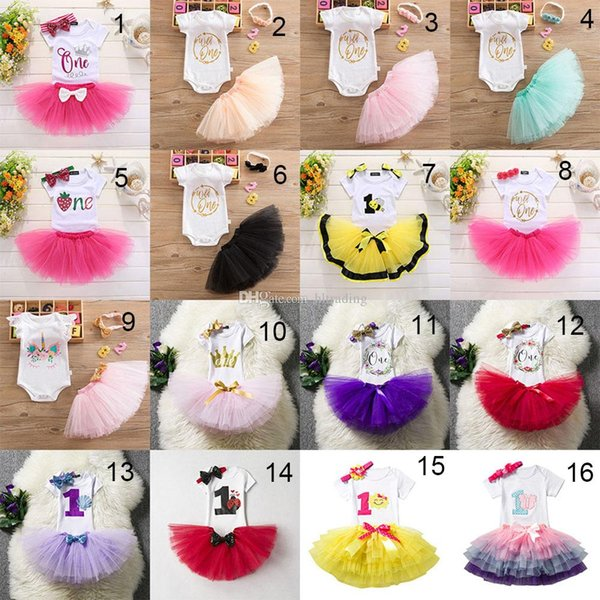 Baby One Birthday outfits girls Sequins headband+letter romper+TuTu skirts 3pcs/set Boutique kids Birthday party Clothing Sets 36stylesC4283