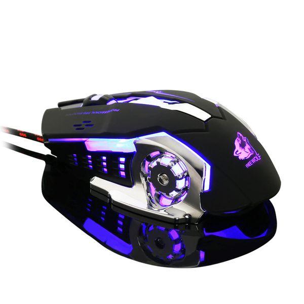 Fashion Cool Mamba Style Wired LED Light 4000DPI Optical Usb Ergonomic Pro Gamer Gaming Mouse Metal Plate#YL