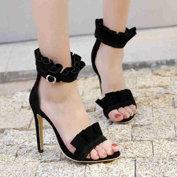 Smilice 2018 Woman Faux Suede Sandals With Stiletto And Open Toe Elegant Style With Ruffles Dressy Shoes With Large Size Available A540 Shoe Sale