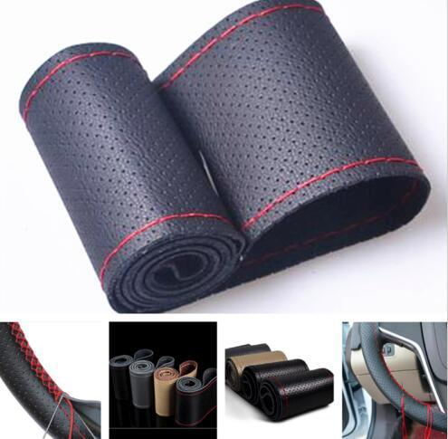 """New for 38cm 15"""" Car DIY Leather Steering Wheel Cover protect Car Needles and Red Thread"""