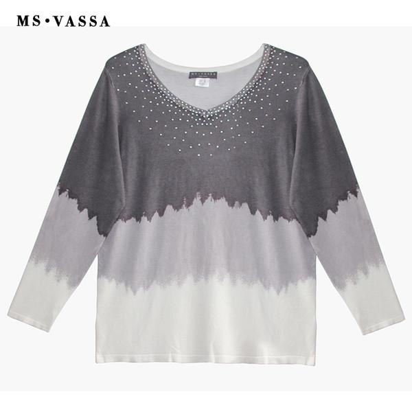 MS VASSA 2018 New Autumn Print V-Neck Women Sweaters Ladies Jumpers Long Sleeve Stylish Winter Pullovers Oversized