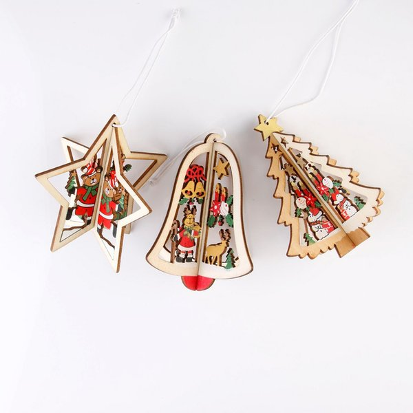 Christmas decoration wood heart tree and bell hanging decor free shipping Christmas Three-dimensional Wooden Pendant decoration for home xma