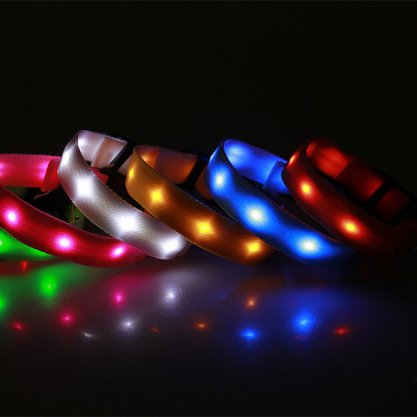 best selling LED Nylon Pet Dog Collar Night Safety Glow Flashing Dog Cat Collar Led Luminous Small Dogs Collars USB Rechargeable XS S M L size