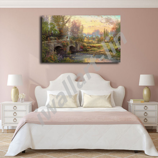 Thomas Kinkade Cobblestone Evening Poster Canvas Painting Oil Framed Wall Art Print Pictures For Living Room Home Decoracion